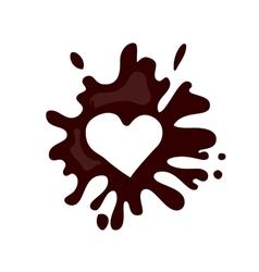 Realistic hot chocolate heart splash vector