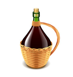 wine in wicker bottle isolated on white vector image
