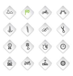 moto racing icon set vector image