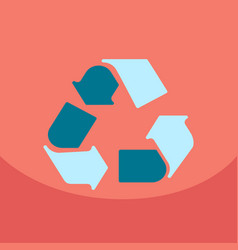 Simple recycle flat icon with stroke on color vector