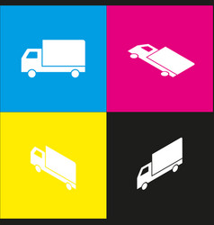 delivery sign   white icon vector image