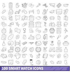 100 smart watch icons set outline style vector image