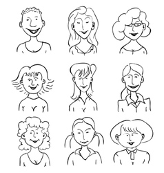 Smiling faces of girls vector