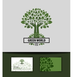 tree logo icon sign emblem template business card vector image