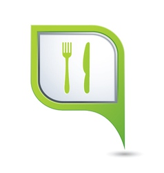 Knife and fork green pointer vector