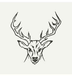 Deer black and white style vector