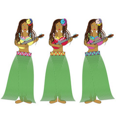 Hawaiian hula girls with guitars vector