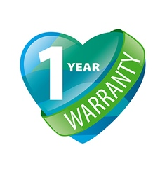 Logo in the form of heart 1 year warranty vector