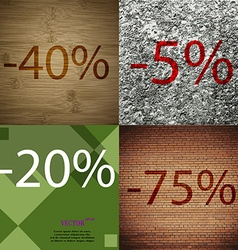5 20 75 icon set of percent discount on abstract vector