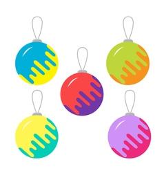 Set of five colorful christmas balls white vector