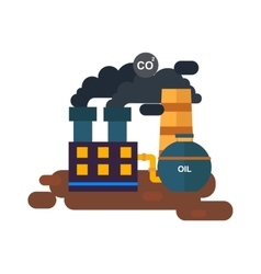 Factory power station flat vector