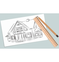 Sketch of house on a white piece vector