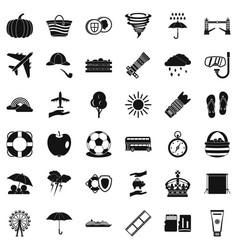 Autumn umbrella icons set simple style vector