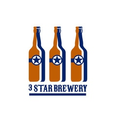 Beer Bottles Star Brewery Retro vector image
