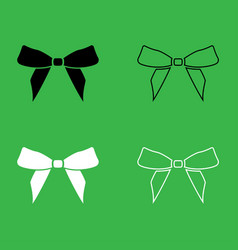 bow icon black and white color set vector image vector image