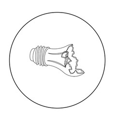 Broken lightbulb icon in outline style isolated on vector