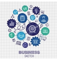 Business hand drawing integrated sketch icons vector image vector image