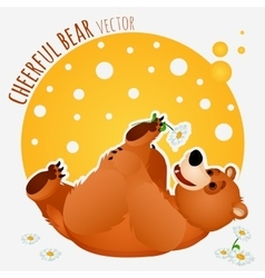 Carefree bear lies and plays with flower vector