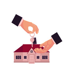 cartoon male hands giving taking house home key vector image