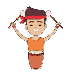Chinese with drum and sticks cartoon vector