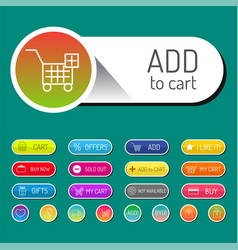 Colorful website online shop web buttons design vector