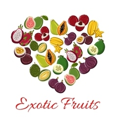 Exotic tropical fresh fruits heart poster vector