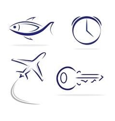Fish Key Clock Plane icons vector image vector image