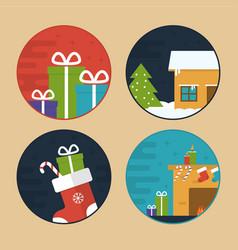 flat christmas scene vector image vector image