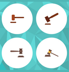 Flat icon court set of defense justice court and vector