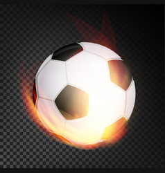 football ball in fire realistic burning vector image