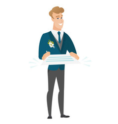 Groom holding a contract vector
