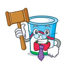 Judge yogurt mascot cartoon style vector