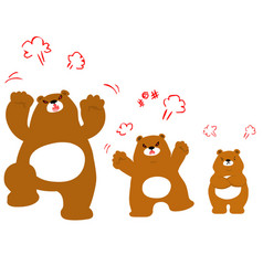 Mad bear family cartoon character vector