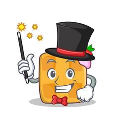 Magician waffle character cartoon design vector