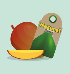 Mango natural product tag market vector