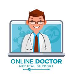 online doctor man medical consultation vector image