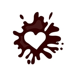 Realistic hot chocolate heart splash vector image