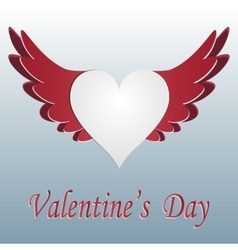 Red and white heart with wings cut on gradent vector
