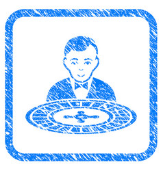 Roulette dealer framed grunge icon vector
