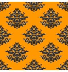 Seamless dark blue floral pattern vector image vector image