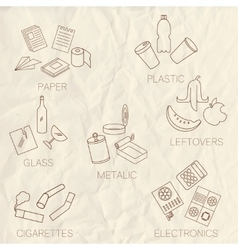 Set of separate garbage icons vector image