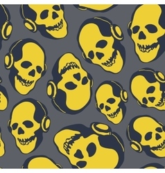 skull in earphones vector image