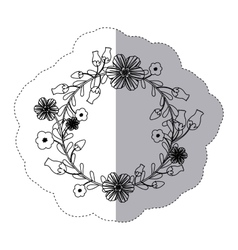Sticker silhouette arch of leaves and flowers vector