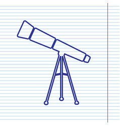 Telescope simple sign navy line icon on vector