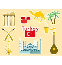 Turkey stickers turkish symbols vector