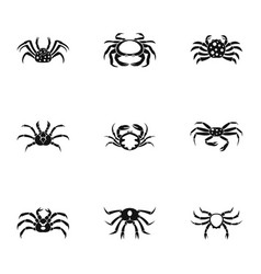 types of crab icons set simple style vector image vector image
