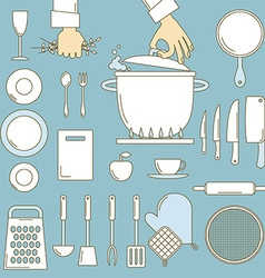 Utensils with cooks hands vector