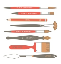 Vintage art tools vector image