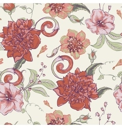 Vintage botanical seamless pattern with blooming vector image