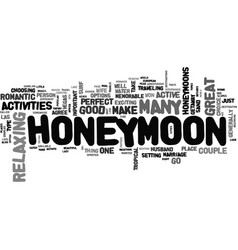 Where to honeymoon my love text word cloud concept vector